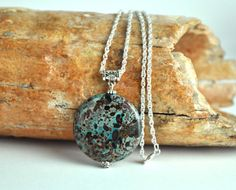 Handmade Jasper Pendant with Silver Chain Natural by BoutiqueGem