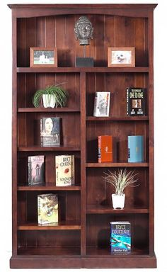 Wooden bookshelf but filled with books