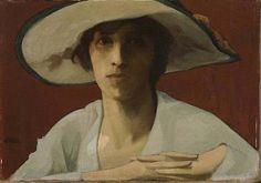 Woman In White Theophrastos Triantafyllidis, Post Impressionism Female Portrait, Female Art, Contemporary History, Angel Sculpture, Post Impressionism, Greek Art, Art Database, First Art, Paintings I Love