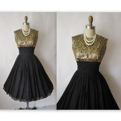 50's Cocktail Dress // Vintage 1950's Black by TheVintageStudio, $112.00