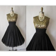 50's Cocktail Dress // Vintage 1950's Black by TheVintageStudio, $112.00