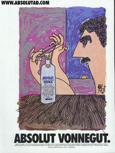 An Absolut ad drawn by Kurt Vonnegut.