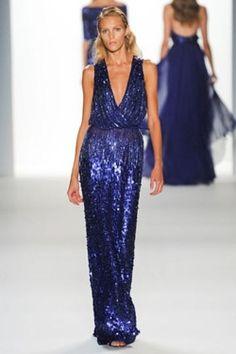 blue metallic loose fit deep v neck dress
