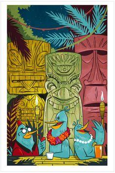 "Aloha Tiki Birds, 12x18"" — ELLINGSON"