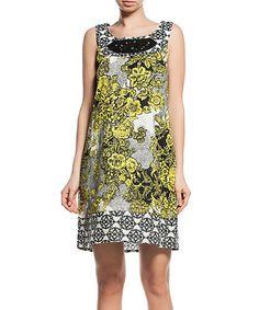 Love this Yellow Floral Sequin Neckline Shift Dress on #zulily! #zulilyfinds
