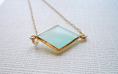 Aqua Chalcedony Necklace, Diamond Gemstone Bezel Set in Gold Vermeil, Blue Green Sea Foam, ADPi, Framed Stone Jewelry LEBasicsJewelry on Etsy.com