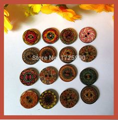 Free Shipping 100pcs 15mm Button Random Mix Wooden Painting Buttons for Craft Scrapbook Sewing Accessories botones decorativos -- Want to know more, click on the image.