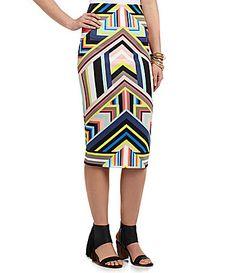 XOXO Printed Scuba Midi Skirt #Dillards
