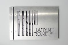 metal cover print portfolio with a diecut, easy to update and change and very unique