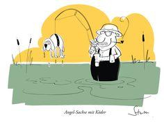 Ein Petri Heil an alle Freunde der sächsischen Mundart.  Teil 1: Angel-Sachse mit Köder www.philippsturm.de #koeter #koeder #dialekt #sächsisch #sachse #sachsen #dog #dogs #hunde #hund #fish #fisch #angel #fishing #angler #angeln #cartoon #humor