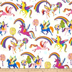 From the DeLeon Group for Alexander Henry, this cotton print fabric brings life to one of nature's most magical creatures: the unicorn. Perfect for quilting, apparel and home decor accents. Colors include white, purple, orange, yellow, red, shades of pink and blue, lime green, black and green.