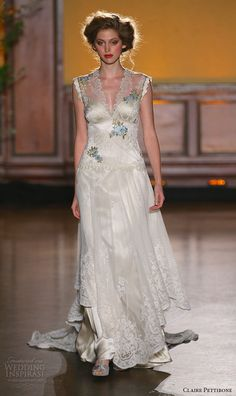claire pettibone fall 2016 bridal new york runway v neckline sleeveless sheath wedding dress vintage style floral embroidery caroline
