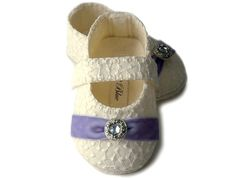 Sophia Baby Girl Shoe in Ivory and Violet. Infant,Toddler, Pre School sizes,by Pink2Blue on Etsy, $40.00