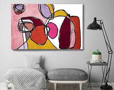 """Vibrant coloré abstrait-0-50. Mid-Century Modern rouge rose toile Art Print, milieu du siècle moderne toile Art Print jusqu'à 72"""" par Irena Orlov"""