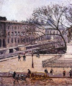 Camille Pissarro (Danish-French 1830– 1903) [Impressionism, Post-Impressionist] The Treasury and the Academy, Gray Weather, 1903.