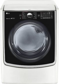 LG - 7.4 Cu. Ft. 14-Cycle Electric Dryer with Steam and Wi-Fi Connectivity - White - Front Zoom