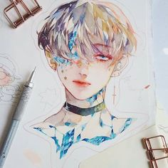 Boy group by kpop fanart, aesthetic art, watercolor illustration Manga Watercolor, Watercolor Illustration, Inspiration Art, Art Inspo, Art Anime, Fan Art, Kpop Fanart, Pretty Art, Aesthetic Art