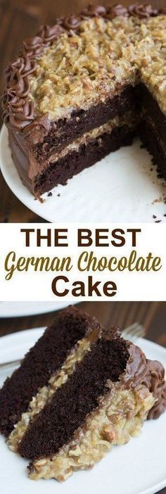 The BEST homemade German Chocolate Cake with layers of coconut pecan frosting and chocolate frosting. This cake is incredible!   tastesbetterfromscratch.com