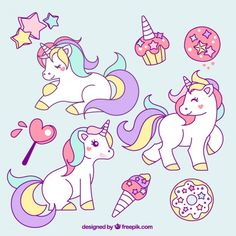 Risultati immagini per dibujos de unicornios kawaii faciles Real Unicorn, Unicorn Art, Rainbow Unicorn, Images Vintage, Free Hand Drawing, Unicorn Birthday Parties, Little Pony, Coloring Pages, Vector Free