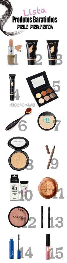 Lista de produtos baratinhos para conseguir fazer uma pele perfeita! No blog tem post completo com todos os links pra comprar os produtos e vídeo no blog ensinando o passo a passo de como fazer uma pele perfeita usando produtos nacionais baratinhos!