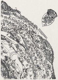 Publisher: Meldemann, Nikolaus, Title: »Der Meldeman-Plan« Belagerung der Stadt Wien, Detail [3/6], Date: 1529 Planer, City Photo, History, Knights, City, Historia, Knight