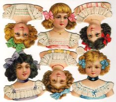 Vintage L & B (Littauer & Boysen) Paper Doll Heads (#30679) are each 3 inches tall. Created by L & B, these doll heads are in Dennison's 1913 catalogue. The Doll Outfit (#31) boxed set has 2 of these dolls in it. Notice the pin hole marks on these dolls—this tells you these are on the heavy, embossed stock used to make articulated dolls | EKDuncan: Antique Paper Doll Collecting
