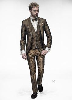 Abito sposo con giacca jacquard oro