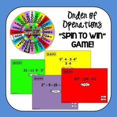 Super fun powerpoint game to practice order of operations.  Students tap the center of the wheel to spin, then tap again to stop.  It really spins and stops whenever it is touched.  Great practice and keeps them engaged!