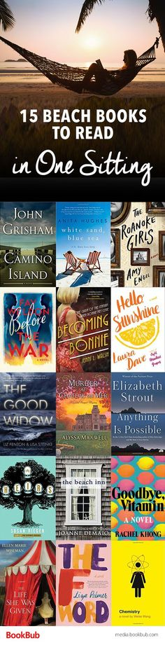 15 beach reads that are so fast-paced, you could read them in one sitting. From thrillers to funny books, these quick reads are great for vacation or for anyone looking for a new reading recommendation.