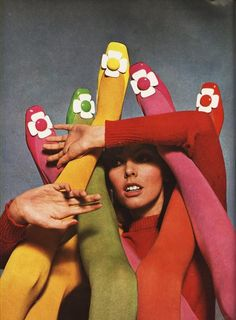 Multi coloured shoes by Charles Jourdan photographed by Guy Bourdin.