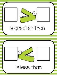 Greater Than, Less Than Work Mat and Game - floatingthoughfirst - TeachersPayTeache. Math Classroom, Kindergarten Math, Student Teaching, Preschool, Math For Kids, Fun Math, Math Stations, Math Centers, Math Resources