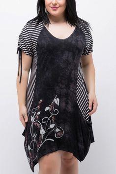 Büyük Beden Siyah Elbise 65N2616
