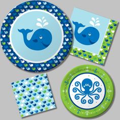 Great for a Girls or Boys Birthday Party Ocean Preppy Boy Party Supplies. Under the Sea Party Theme. Ocean Party Theme.