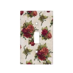 Antique Red Rose Wallpaper Switch Plate Cover