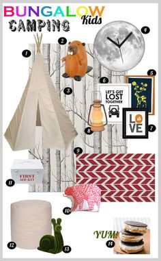 Camping themed kids room with glow in the dark moon clock and teepee