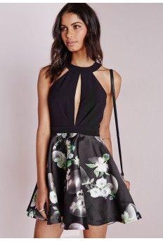 Sleeveless Floral Skirt Skater Dress Black