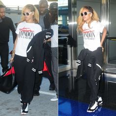 Rihanna in vintage Chanel sunglasses, Trapstar tee and Air Jordan sneakers.