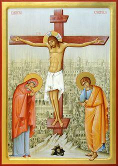 Crucifixion by Dragan Jovanovic Crucifixion Of Jesus, Jesus Christ, God Jesus, Best Icons, Byzantine Icons, Guardian Angels, Orthodox Icons, Sacred Art, I Icon