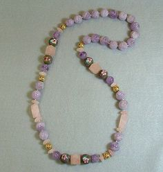 Vintage Purple Cape Amethyst Bead Necklace Pink by ForeverInStyle, $215.00
