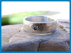silver ring gemstone flush set, wedding band silver engagement ring, personalized mens ring, hammered ring band silver, mens wedding ring, star ring silver - Wedding and engagement rings (*Amazon Partner-Link)