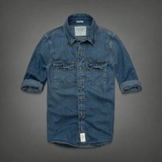 NWT ABERCROMBIE & FITCH Men's shirt Medium Wash East River Trail Denim Shirt