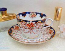 Tuscan Antique Imari Inspired Teacup and Saucer Set, c. 1907-1919