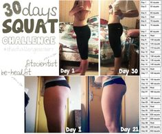 30 day squat challenge - WOW! With results like these I need to do this! These are my problem areas!