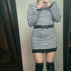 Striped sweater dress New condition :) only worn once. Candie's Dresses Mini