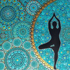Dot painting tree yoga pose mandala