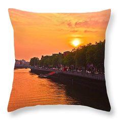Orange Sunset Throw Pillow for Sale by Alex Art Pillow Sale, Fine Art America, Waves, Throw Pillows, Sunset, Orange, Prints, Outdoor, Outdoors