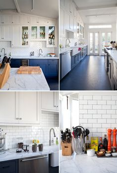 Love the blue cabinets contrasting with the crisp white