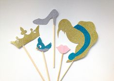5-Piece Disney Princess Cinderella inspired Photo Booth Prop Set. Wedding, Hen, Bachelorette, Birthday Halloween Party.