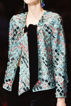 Pin for Later: You Won't Believe What the Clothes at Fashion Week Look Like Up Close Giorgio Armani Fall 2015