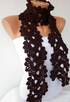 I don't usually care for scarves, but. Brown Queen Anne's Lace Scarf Crochet Scarf Dark Coffee Chocolate Natural Bamboo Ecofriendly Soft Antibacterial the frontpage on ETSY Crochet Scarves, Crochet Shawl, Knit Crochet, Crocheted Scarf, Easy Crochet, Crochet Flower, Crochet Crafts, Yarn Crafts, Crochet Projects